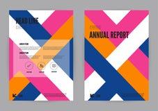 Projeto azul, cor-de-rosa e alaranjado do tamanho do molde A4 do inseto do folheto do folheto do informe anual ilustração do vetor