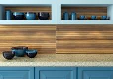Projeto azul da cozinha fotografia de stock