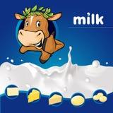 - Projeto azul do leite com a vaca com espreitar e produtos láteos da grinalda do louro - vetor escuro Fotografia de Stock