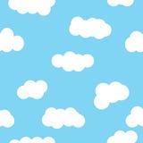 Projeto azul do papel de parede do teste padrão da nuvem Foto de Stock