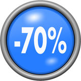 Projeto azul 70 por cento no botão 3D redondo Fotografia de Stock Royalty Free