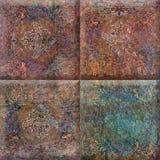 Projeto bege natural para azulejos, quadrado rústico do quadrado da mandala da cor da mandala fotografia de stock royalty free
