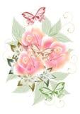 Projeto bonito com ramalhete das rosas Foto de Stock