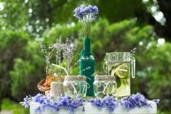 Projeto bonito de decorações da tabela para casamentos Fotografia de Stock