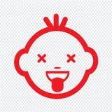 Projeto bonito do símbolo da ilustração do ícone da emoção da cara do bebê ilustração stock
