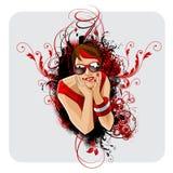 Projeto bonito do t-shirt do retrato da mulher da forma Foto de Stock Royalty Free