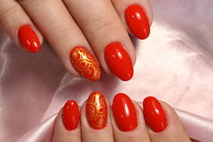 Projeto bonito do tratamento de mãos vermelho Imagens de Stock Royalty Free