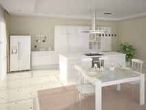 Projeto branco da cozinha Ilustração do Vetor