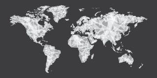 Projeto branco do polígono do vetor abstrato do mapa do mundo Fotos de Stock Royalty Free