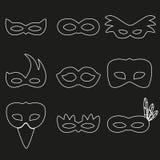 Projeto branco eps10 das máscaras do esboço de rio do carnaval Fotografia de Stock