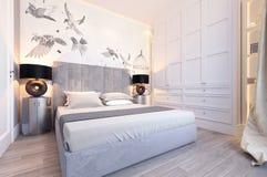 Projeto branco moderno do quarto Foto de Stock Royalty Free