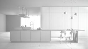 Projeto branco total, sem materiais, do hob caro luxuoso minimalista da cozinha, da ilha, do dissipador e do g?s, espa?o aberto,  ilustração stock