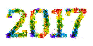 Projeto brilhante colorido do splat da tinta do ano no fundo branco Imagem de Stock Royalty Free