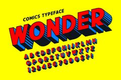 Projeto cômico na moda da fonte 3d, alfabeto colorido, caráter tipo ilustração stock