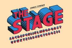 Projeto cômico na moda da fonte 3d, alfabeto colorido, caráter tipo ilustração royalty free