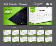 Projeto 2017, calendário verde ajustado do molde do calendário de mesa de mesa da tampa Imagem de Stock