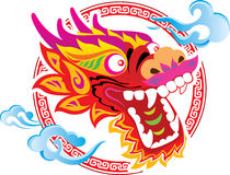 Projeto chinês da arte da cabeça do dragão da cor Fotos de Stock Royalty Free