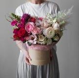 Projeto chique da caixa da flor, o rico e o luxuoso, decoração interior fresca fotografia de stock