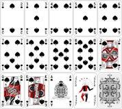 Projeto clássico de duas cores ajustado da pá dos cartões do pôquer ilustração stock