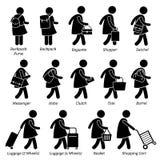 Projeto Clipart da bagagem da carteira da bolsa dos sacos da mulher ilustração royalty free