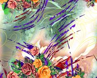 Projeto colorido bonito do fundo com flores coloridas Fotografia de Stock Royalty Free