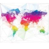 Projeto colorido do triângulo do mapa do mundo Imagem de Stock Royalty Free