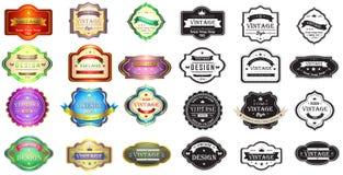 Projeto colorido e da silhueta do vintage dos crachás com Imagem de Stock
