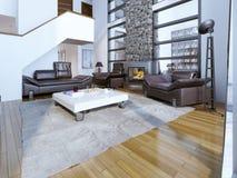Projeto contemporâneo da sala de estar Fotografia de Stock