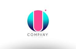 Projeto cor-de-rosa azul do ícone do logotipo da letra da esfera do alfabeto 3d de U Imagem de Stock