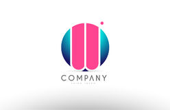 Projeto cor-de-rosa azul do ícone do logotipo da letra da esfera do alfabeto 3d de W Foto de Stock Royalty Free