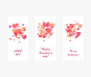 Projeto cor-de-rosa brilhante do Valentim dos corações Fotos de Stock Royalty Free
