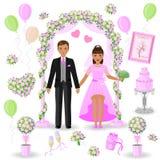 projeto Cor-de-rosa-verde do casamento Foto de Stock Royalty Free