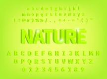 projeto corajoso do caráter tipo da natureza do alfabeto 3d ilustração stock