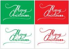 Projeto criativo da caligrafia do Feliz Natal tirado à mão no fundo vermelho e branco verde para a época natalícia Imagens de Stock Royalty Free