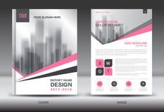 Projeto criativo do molde cor-de-rosa do inseto do folheto do informe anual da tampa Imagem de Stock