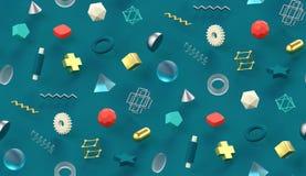 Projeto criativo do teste padrão do estilo dos anos 80 da textura sem emenda de turquesa com cena abstrata colorida de memphis da ilustração royalty free