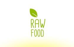 projeto cru do ícone do logotipo do conceito do texto da folha do verde do alimento ilustração do vetor