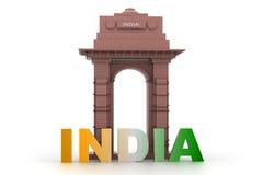 projeto 3d da porta da Índia Fotografia de Stock