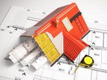 projeto 3d dos telhados em um fundo dos desenhos Imagem de Stock