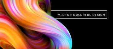projeto 3d fluido colorido abstrato Ilustração do vetor ilustração stock