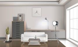 Projeto 3D interior da sala de estar realística Fotos de Stock Royalty Free