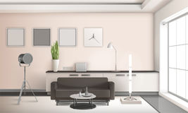 Projeto 3D interior da sala de visitas realística Foto de Stock