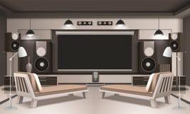 Projeto 3D interior do cinema home moderno Imagem de Stock Royalty Free