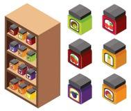 projeto 3D para doces nas prateleiras Foto de Stock