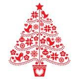 Projeto da árvore de Natal - estilo popular com pássaros, flores e flocos de neve ilustração do vetor