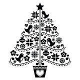 Projeto da árvore de Natal - estilo popular com pássaros, flores e flocos de neve Imagem de Stock Royalty Free