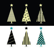 Projeto da árvore de Natal preto & branco Fotos de Stock Royalty Free