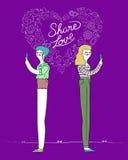 Projeto da amizade das mulheres e de conceito do Internet do amor ilustração stock