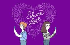 Projeto da amizade das mulheres e de conceito do Internet do amor ilustração royalty free