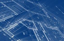 Projeto da arquitetura: plano do modelo - ilustração de um plano foto de stock